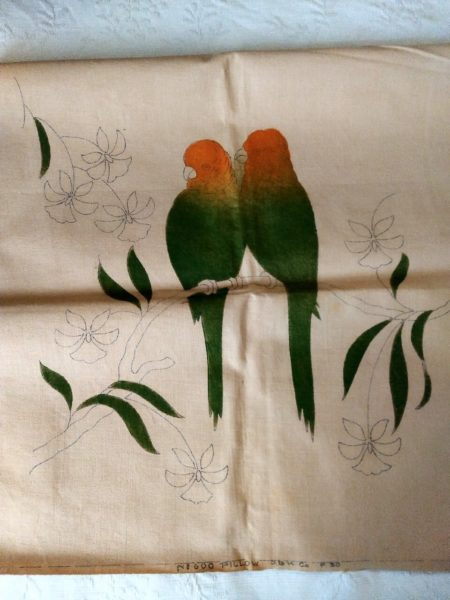 Tinted Stencil 1930's Pair Parrots Pillow Cover To Embroidery Antique Vintage Tropical Scene