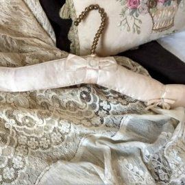 1940s Satin Padded Clothes Hanger Brass Beads Metal Hook Lingerie or Dress