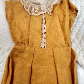 Vintage 1920's Doll Dress Home Sewn Linen Lace Compo Bisque