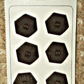 1920s 1930s Vintage Czech La Mode 6 Brown Button On Card