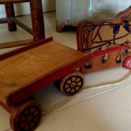 Vintage 1940 Wooden Horse Cart Pull Toy Cass Express Wagon 104