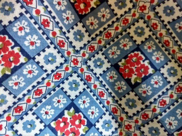 Vintage Blue Feed Flour Sack Fabric Flower Diamond Pattern 1950's