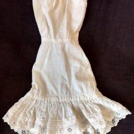 Old Bustle Back Doll Petticoat Full Slip Eyelet Ruffle Lace Trim