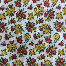 Vintage Yardage 1950's Red Yellow Small Print Cotton Dress Quilting Fabric Unused