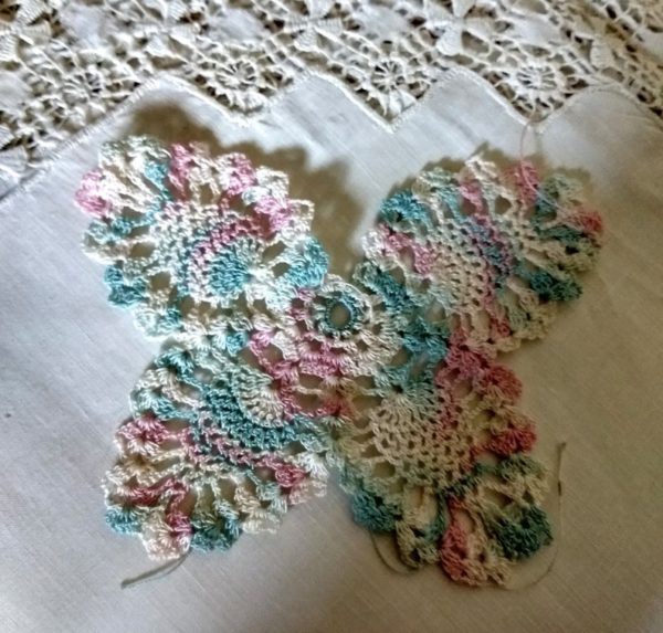 Vintage Hand Crochet Butterfly Applique Embellishment Pineapple Pattern