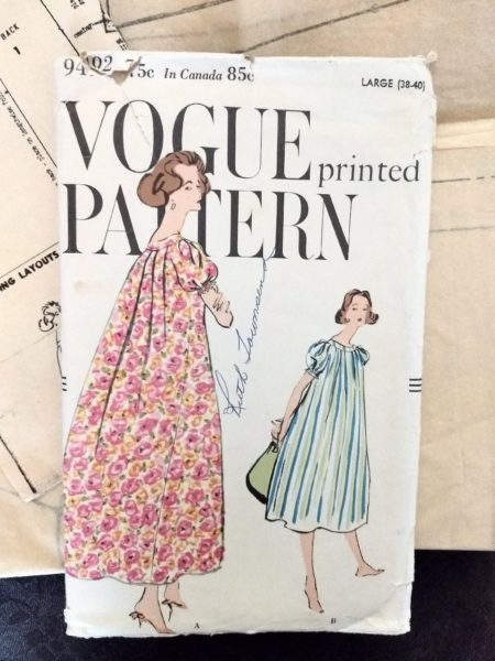 1950's Vogue 9492 Pattern Muu Muu Dress Gown Vintage Sewing 1959