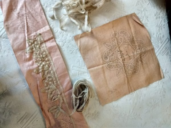 2 Antique Cloth Battenburg Lace Pattern Stencils Doily Collar Tape Lace Braid To Finish