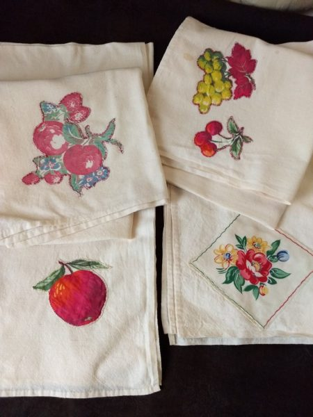 Feed Sack Muslin Applique Kitchen Towels Vintage Home Sewn Fruit Motif Set 4