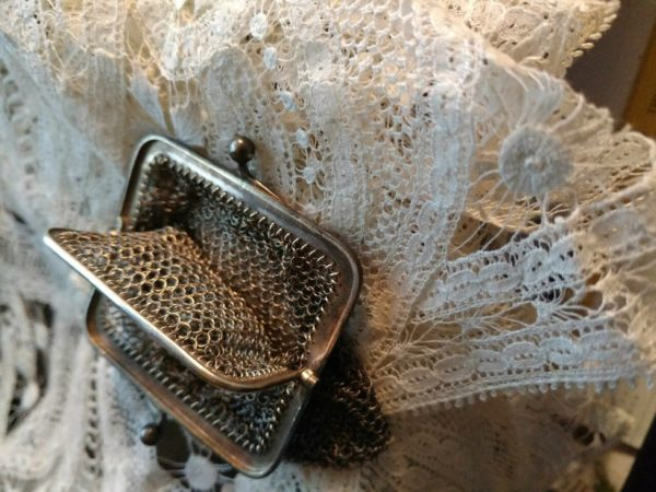 Victorian 1900s Coin Purse Chain Link Mesh Chatelaine Silver Metal