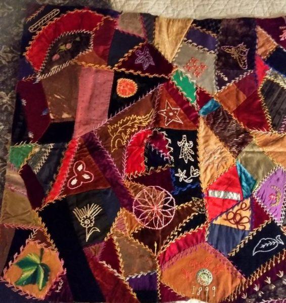 1899 Victorian Crazy Quilt Piece Velvet Silk Fancy Needlework Embroidery