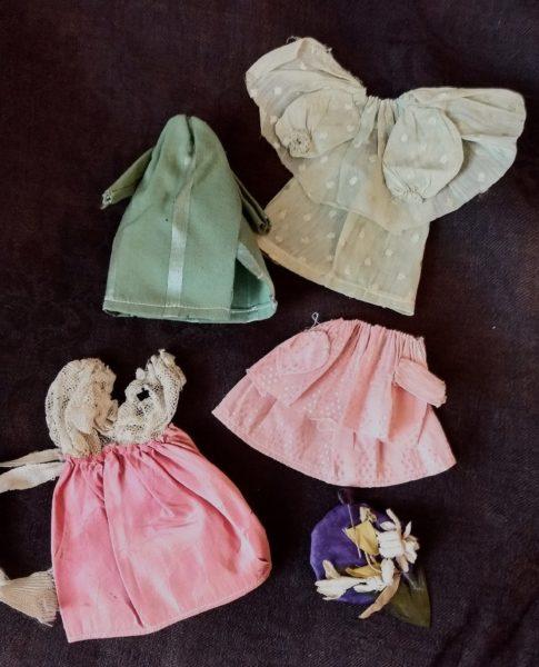 Antique Home Sewn Doll Clothing Dress Skirt Blouse Coat Jumper Hat Edwardian Vintage