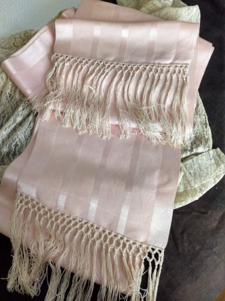 Antique Edwardian Pink Satin Ribbon Shawl Wrap Sash Long Fringe Hand Tied
