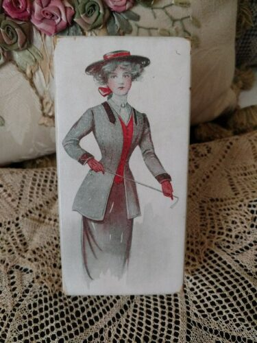 Antique Cardboard Gift Box Edwardian Lady Riding Habit Dress Costume