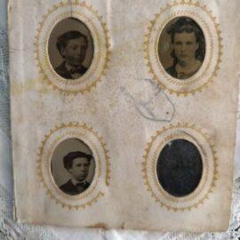 19th Century Gem Tintype Album Page Victorian Tiny Photos Children