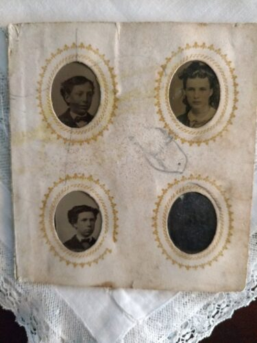 19th Century Gem Tintype Album Page Victorian Tiny Photos Children