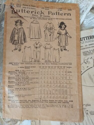 1900's Doll Dress Pattern Dress Cape Underwear Butterick Original