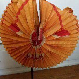 Antique Halloween Pumpkin Folding Accordion Crepe Paper Face Candle Holder