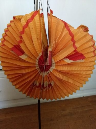 Antique Halloween Pumpkin Folding Accordion Crepe Paper Face Candle Holder