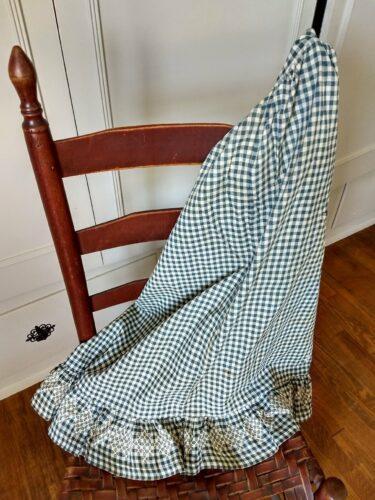 blue white homespun apron