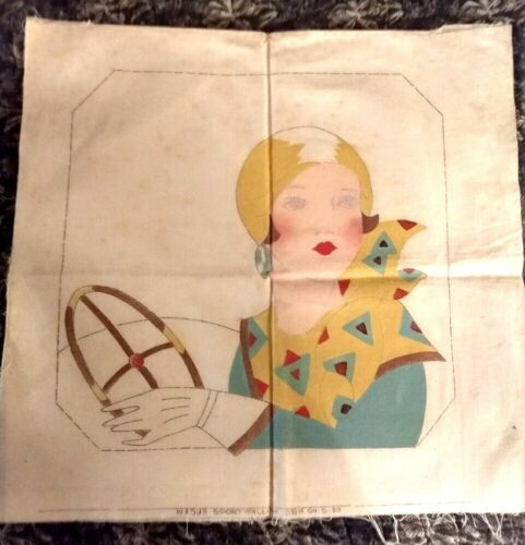 1930s pillow cover woman auto embroidery