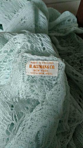 vintage wool knit baby shawl blanket altman ny