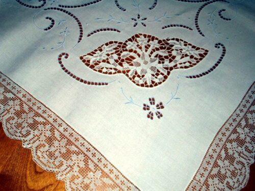Antique vintage point venice linen tablecloth