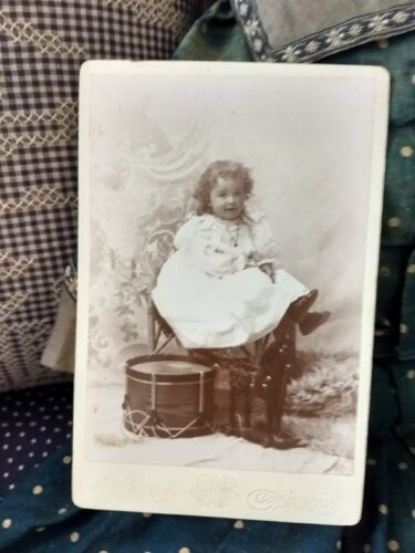 Victorian Cabinet Card Photograph Child Drum Horse On Wheels Photo