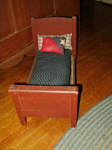 Antique Victorian Early 1900 Country Primitive Wooden Doll Bed