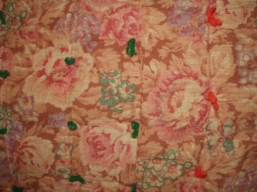 1920 Allover Floral Cotton Fabric Early 1900 Tied Comforter