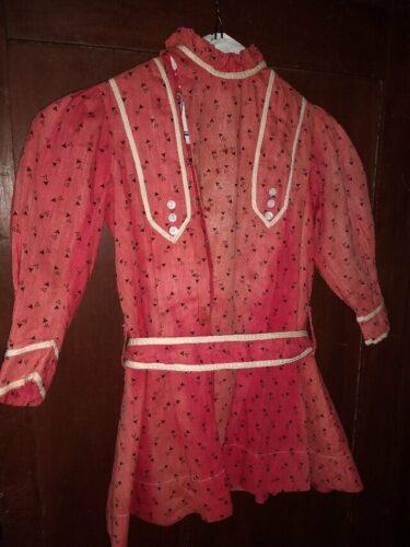 Child Red Calico Dress 1900s Victorian Farmhouse Primitive
