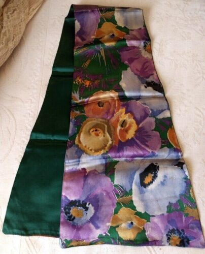 1920's Satin Flower Scarf Shaped Neck Line Antique Silk Rayon Costuming Accessory