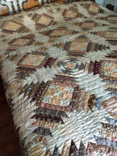 goosequilt antique brown calico quilt